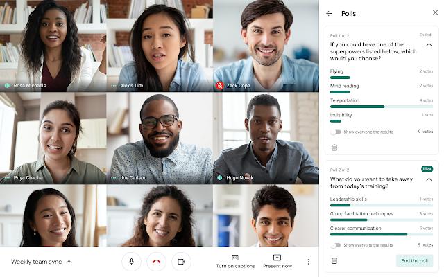 Encuestas y Preguntas y Respuestas para Google Meet