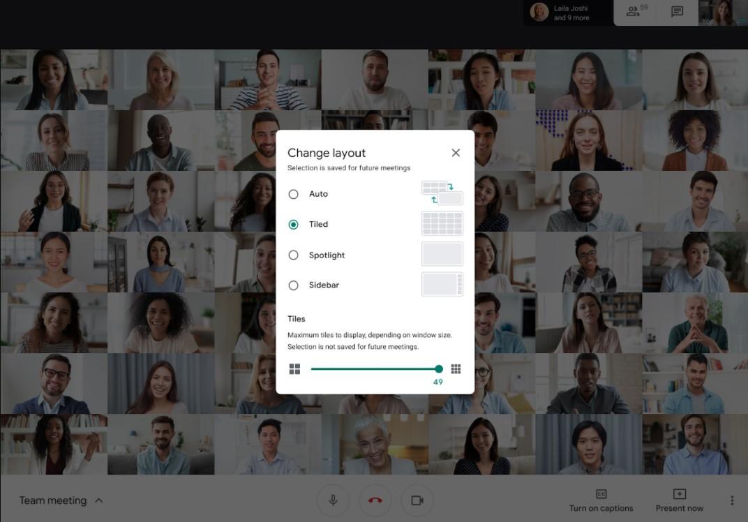 Configuración Google Meet cambio de mosaico de personas