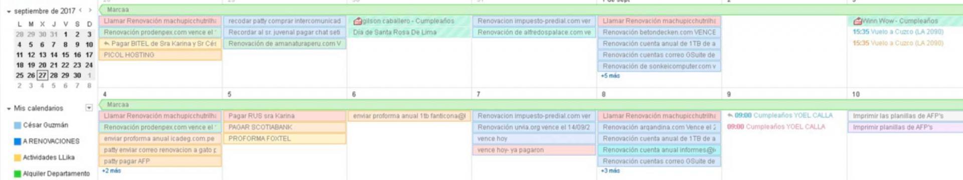 Google Calendar Perú